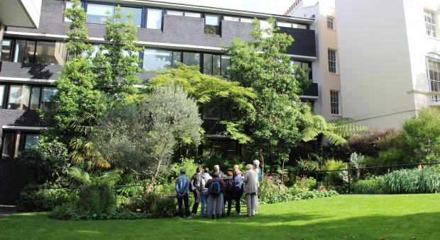 A tour group stands on the grass in the RCP garden on a sunny day, looking up at the main building