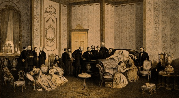 Half-tone drawing of a white man lying in bed surrounded by other men, women and children