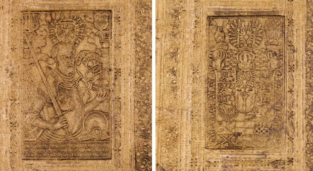 Detail of two blind-stamped panels on a pale, alum-tawed pigskin book binding. On the left is a depiction of the Holy Roman Emperor Charles V, on the right a coat of arms