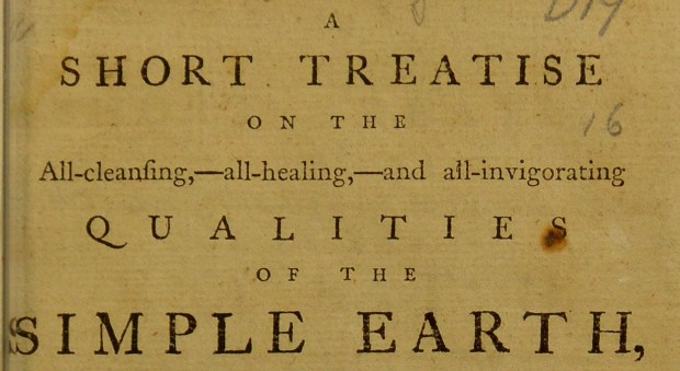 Part of title page of Graham's treatise on earth-bathing
