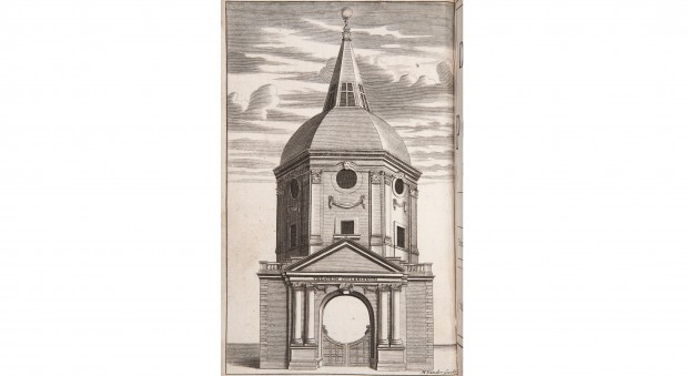 Engraved illustration of a domed building