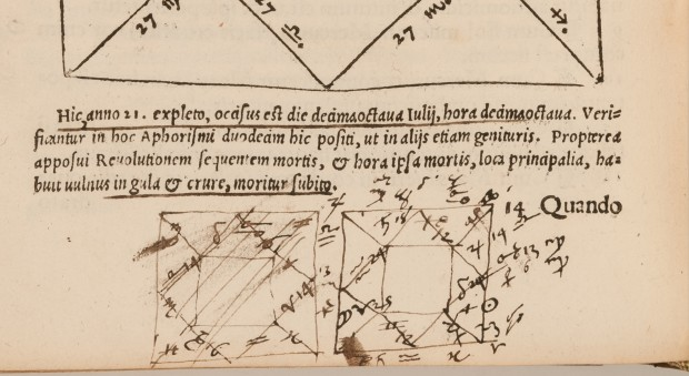 Astrological charts drawn by John Dee in Libelli quinque. Girolamo Cardano, published Nuremberg, 1547