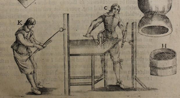 Engraved illustration of men constructing fireworks