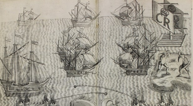 Engraved illustration of a sea battle made in fireworks