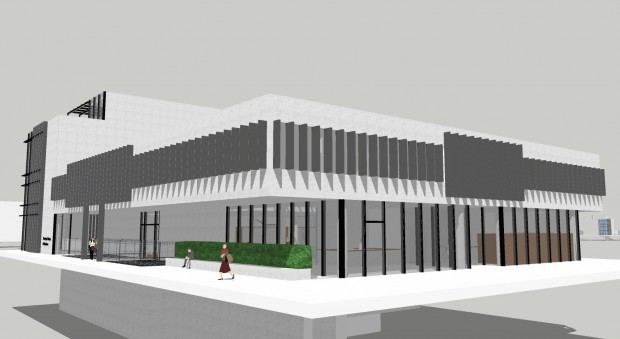 Computer drawing of a building in white and grey materials