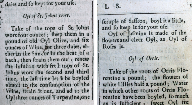 Printed text in English explaining how to make oil of St John's wort
