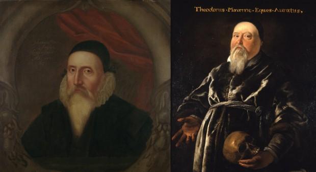 Portraits of John Dee and Theodore de Mayerne.