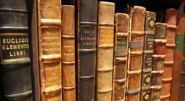Rare books on a shelf
