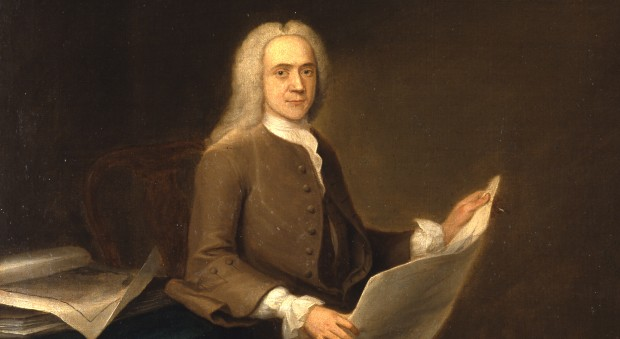 Oil painting of a man in an 18th century wig, holding a large document