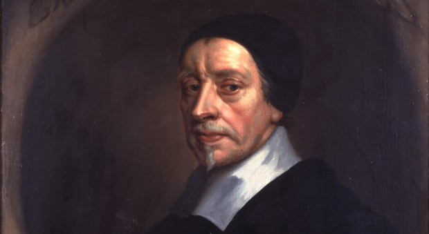 Oil painting of a man wearing a black scholar's cap
