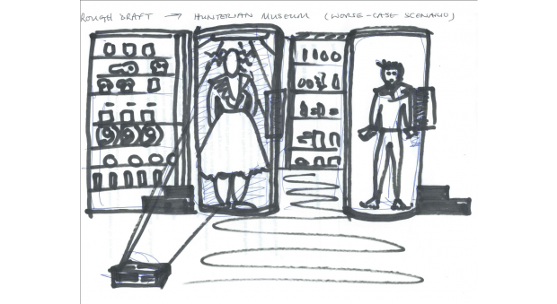 Black and white sketch of two figures, one in a dress and one in trousers, alongside displays of exhibits in the Hunterian Museum