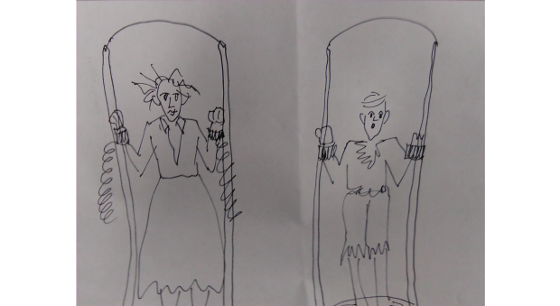 Black and white sketch of two figures tied into frames