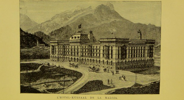 Line drawing of a large hotel in the mountains of the Alps