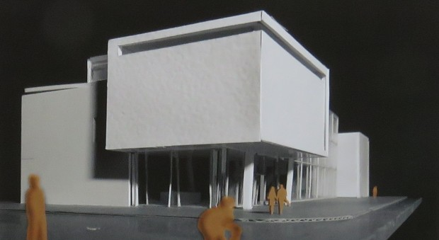 Photograph of a model of a building made in white material