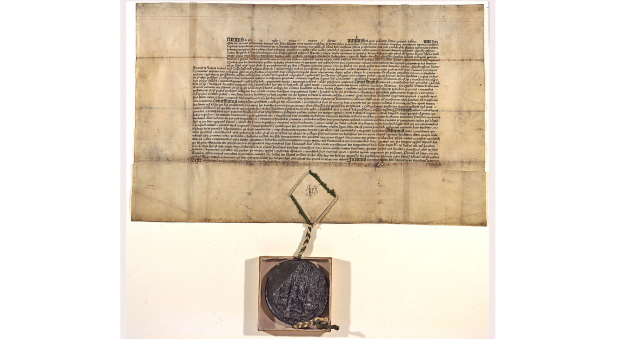 Photograph of a large rectangular document written in formal 16th century script, with a large brown seal hanging from the bottom