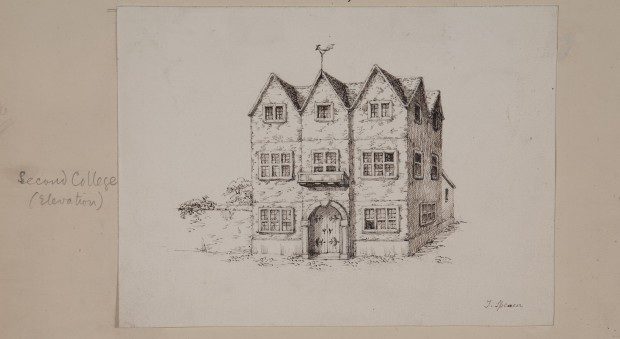 Hand-drawn pencil sketch of a large house