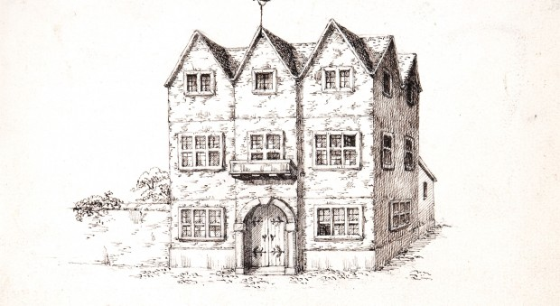 A pencil sketch of a 17th century house