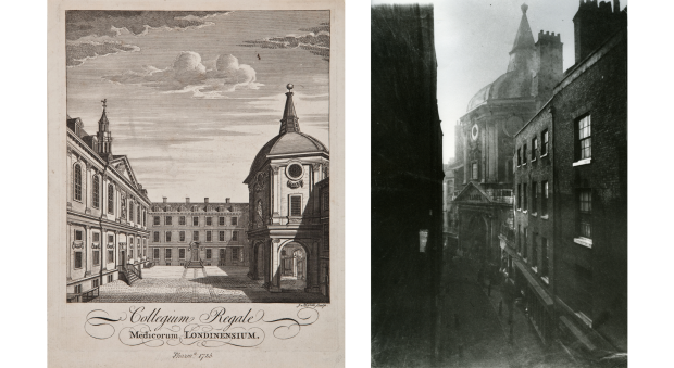On the left: an engraved black and white illustration of a courtyard, showing the RCP anatomy theatre on the right. On the right: an early black and white photograph showing the entrance to the RCP building from the street.