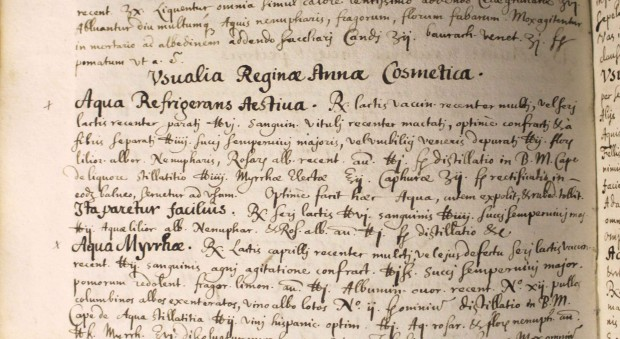 Recipes for cosmetics written in Latin