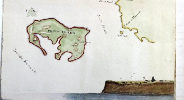 Hand-sketched colour maps of the island of Perim