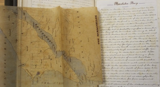 Handwritten diary and printed page of map showing the Dardanelles