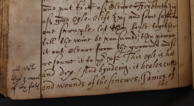 Handwritten recipe for Oyle of St Johns Wort with notes about usage and provenance