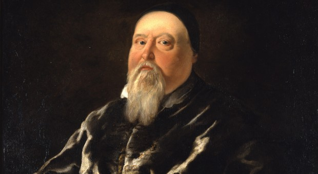 Colour oil painting of a man with a pointed grey beard, wearing a dark skull cap and a dark velvet dressing gown