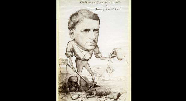 Caricature of Rolleston depicted digging up skulls