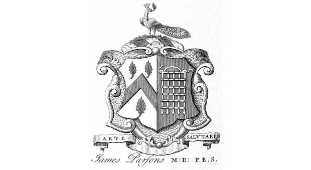 Armorial bookplate of James Parsons (1705–1770). 18th century.