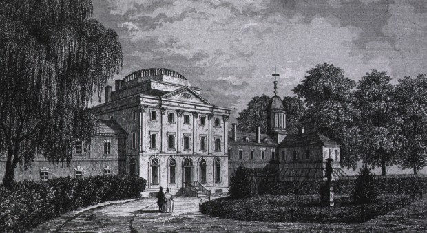 Back and white engraving of a stately building