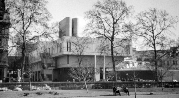 Black and white image of the RCP building from Regent's Park