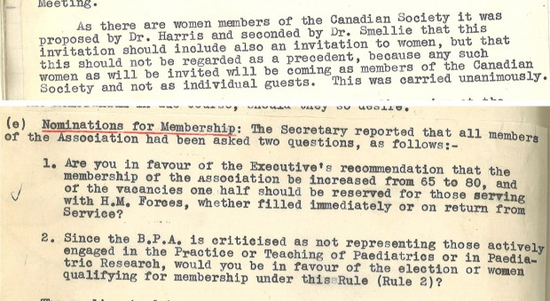 Typescript documents concerning admitting women members to the organisation
