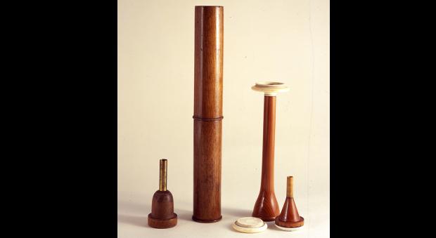 Wooden monaural stethoscopes
