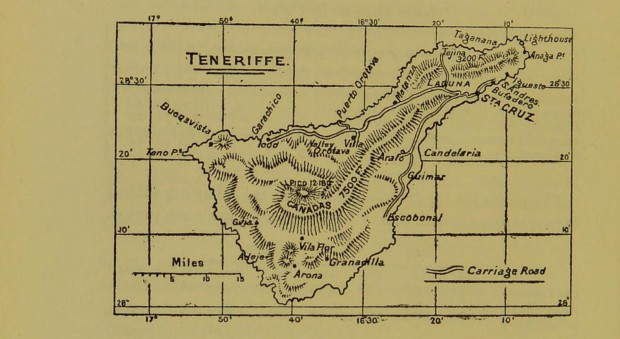 Line drawing map of the island of Tenerife
