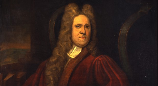 Oil painting of a man in a wig, wearing a red gown