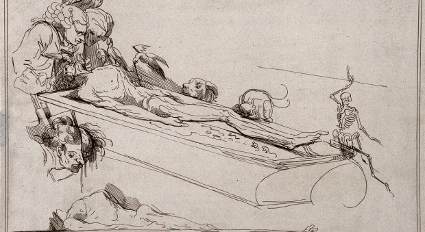 Caricature of William and John Hunter dissecting a corpse