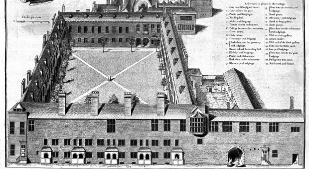 Engraved illustration of a building with a courtyard