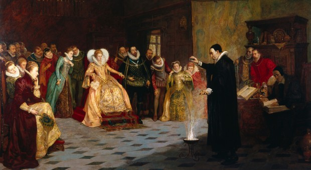 John Dee performing an experiment before Queen Elizabeth I. Oil painting by Henry Gillard Glindoni, late 19th century. Wellcome Library, London