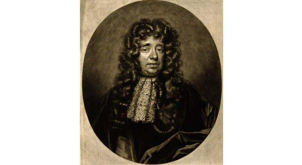 Black and white portrait of a gentleman in a long wig