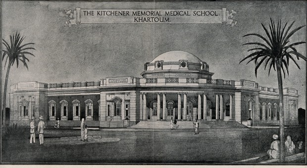 Black and white engraved illustration of the Kitchener School of Medicine building, with columns in front and a large domed roof