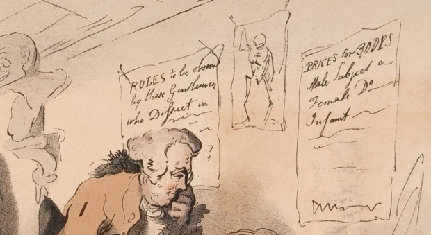 Detail of The dissecting room, by T C Wilson after Thomas Rowlandson