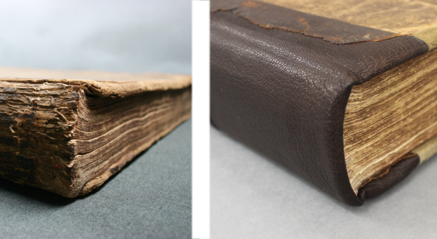 Photographs of the damaged and repaired spine of the book