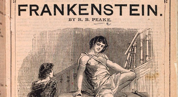 Black and white play cover showing Frankenstein's monster