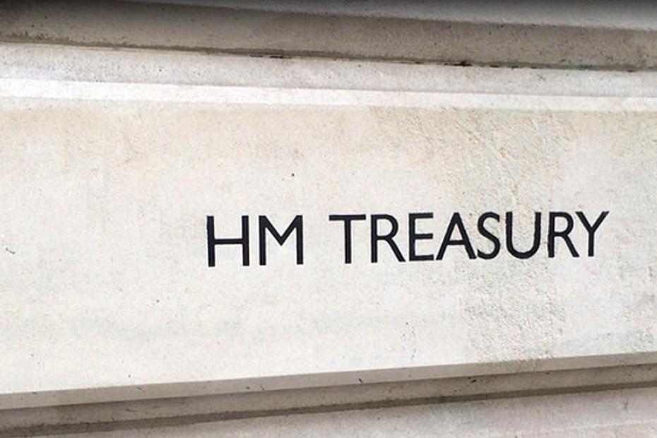 Building plaque reading 'HM Treasury'