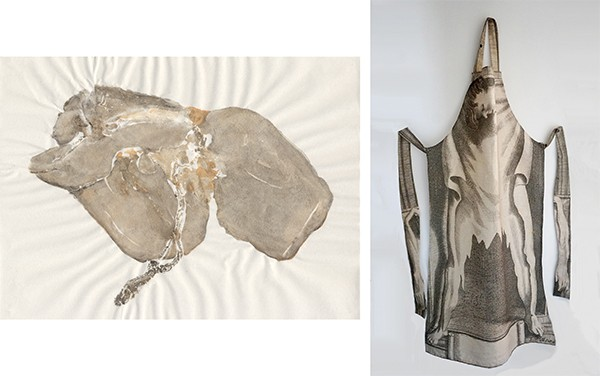 A nature print of a lambs liver; an apron printed with an image of flayed human skin.