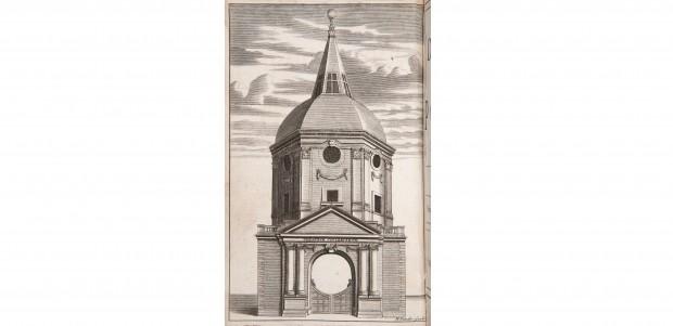 Engraved illustration of a domed building