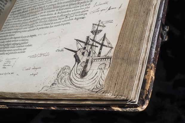 John Dee's sketch of the ship in the margins of Cicero¸ Opera (Paris, 1539–40). © Royal College of Physicians / John Chase