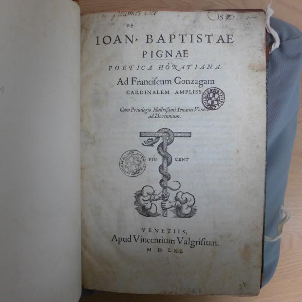 Pignae poetica Horatiana. Giovan Battista Pigna, published Venice, 1561