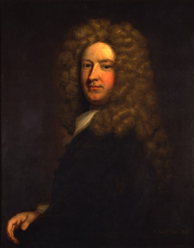 Oil painting of a man in a large grey wig