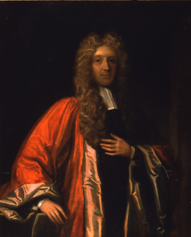 Oil painting of a man in a long grey wig, wearing a red robe